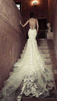Strapless Low Back Embroidered Tulle Wedding Dress d6bb8e482