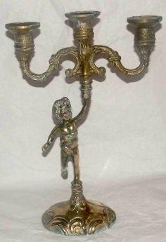 Świecznik figuralny z mosiądzu mosiądz / świecznik na trzy świece