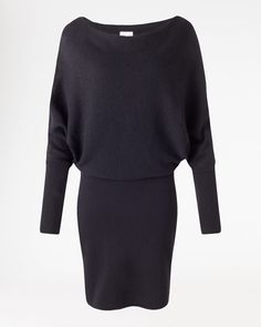 Jigsaw Waffle Stitch Batwing Dress in Black, £139. Also comes in Dark Purple.