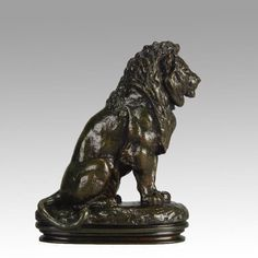 - mid century bronze study of a seated lion with excellent autumnal patination the bronze with crisp hand chased surface detail raised on integral oval stepped plinth signed Barye. This is a rare atelier cast from Baryes own foundry. Animal Sculptures, Lion Sculpture, Lion Art, Wizard Of Oz, Bronze Sculpture, Animal Kingdom, Antique Furniture, 19th Century, It Cast