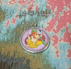 pingente de prata, Ganesha pintado a mão