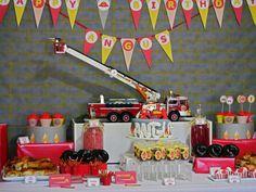 Firetruck dessert table #firetruck #boyparties #desserttable