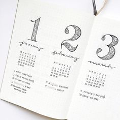 Bullet journal future log, patterned numbers, cursive headers. | @ajournalbyannie