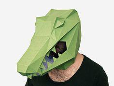 Alligator Mask, Crocodile Mask, DIY printable Animal Head, Instant Pdf download, DIY New Year Mask, Polygon Masks, Printable Mask by lapastudios