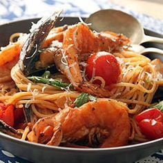 A lovely way to do something a little different with your seafood! Seafood spaghettini