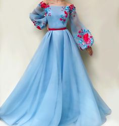 blue party dress long sleeve evening dress tulle applique prom dress off shoulder ball gown - 2020 New Prom Dresses Fashion - Fashion Of The Year