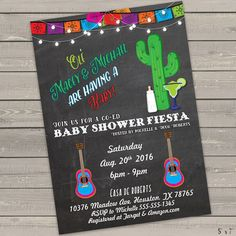 baby shower fiesta invitation, mexican baby shower invites gender neutral printable coed baby shower invitations printed or digital by FortunateInvite on Etsy https://www.etsy.com/listing/281465746/baby-shower-fiesta-invitation-mexican