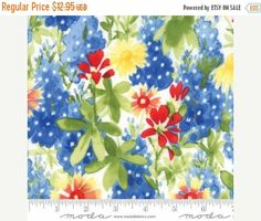 Spring Sale- Bluebonnet Patch Ivory - Wildflowers - Moda Cotton Fabric, In Stock, Quilt~Fast Shipping F1102
