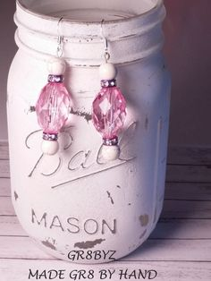 Pink and purple colored Dangle Earrings by gr8byz by gr8byz