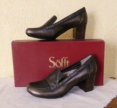 Sofft Marisol Leather Heels Pumps Loafers 8/39 Classic Comfy Cute Work Inspired #Sofft #LoaferHeels #WeartoWork
