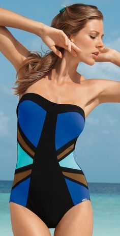 Sunflair 2013 Urban Tiger Blue One Piece Bandeau Swimsuit  #turban #blue #color #gottex #spring #summer #fashion #style #design southbeachswimsuits.com