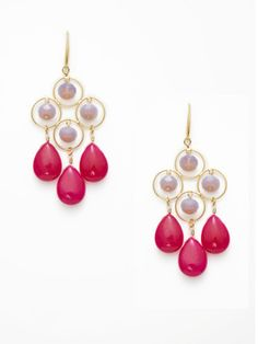Purple and pink drop earrings by David Aubrey