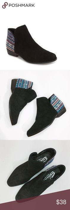 SBICCA  Ankle Bootie New Without Tag • Cute little booties • Pull on style • woven geometric pattern back and suede • Leather and textile upper/synthetic lining and sole • No Defects ••NOTE: Inside shoes states 6.5 but sold states 6. Sbicca Shoes Ankle Boots & Booties