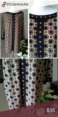 Tunic top by Style and Company size 1X Brand new tunic top by Style and Company with decorative stud detail down the front and at the neckline.  Geometric pattern in yellow and black.  Never worn in excellent condition.  Flowy full sleeves, stretchy fabric.  Size 1X. Style & Co Tops Tunics