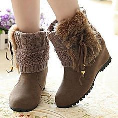 [XmasSale]Women's Shoes Fashion Boots Round Toe Wedge Heel Mid-Calf Boots More colors available - USD $ 14.99