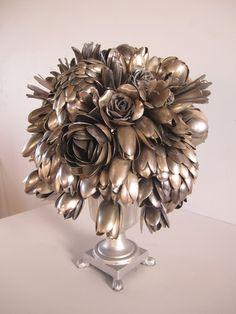 Bouquet using old silver spoons. Bosschaert's Blossom - detail by Ann Carrington