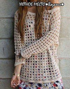 www.fhinotrico.blogspot.com: Blusa em crochê com esquema