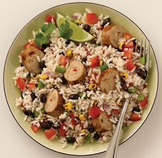 Spicy Jalapeno Fiesta Rice Bowl ~ Al Fresco brand Spicy Jalapeno Chicken Sausage (sub. andouille) Minute Rice, black beans, corn, bell peppers, & onion seasoned with garlic & cumin