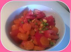 No gluten! Yes vegan!: Insalata di carote, mais, piselli e pomodori