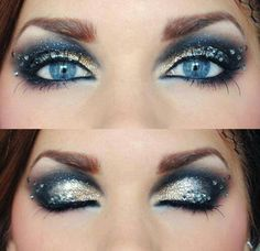 Gold & blue eyes with rhinestones. Love this!