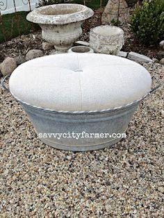Wash tub ottoman