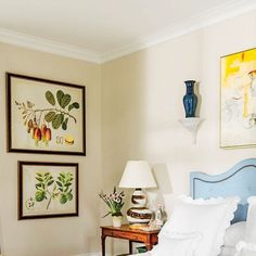 The 2015 Charlottesville Idea House: In the master bedroom, bold botanicals hanging alongside a colorful abstract painting over the bed at first feel mismatched but actually convey a true collector's authenticity.
