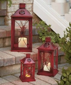 Barn star metal candle lanterns set - great for outdoors as well as indoor decor Metal Lanterns, Hanging Lanterns, Candle Lanterns, Country Decor, Rustic Decor, Outdoor Living Furniture, Lantern Set, Porch Decorating, A Table