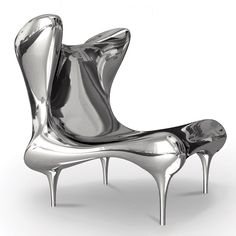 Riemann chair in polished stainless steel by Craig Van Den Brulle.