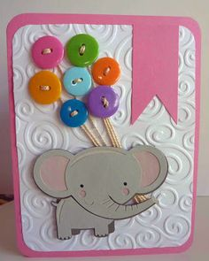 Miss Kate Cuttables Cute elephant with balloons only I replaced balloons with buttons Cool Beans by L.B.