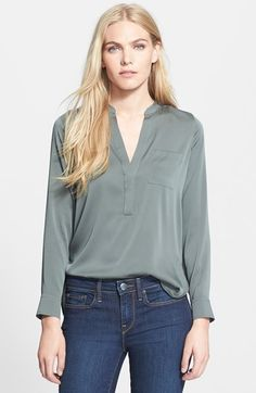 Vince Half Placket Stretch Silk Blouse available at #Nordstrom