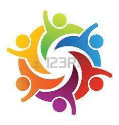 123RF logo illustration vector design happy teamwork 6 group of business people