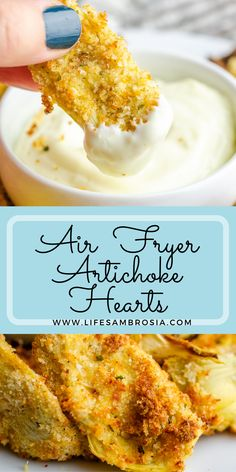 Crispy air fried artichoke hearts with a fraction of the oil! Perfect, guilt free, snacking! Visit www.lifesambrosia.com for the full recipe