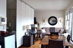 450 Ft2 Nyc Studio Ikea Kvartal Hanging Room Divider Creates A Living And Visually