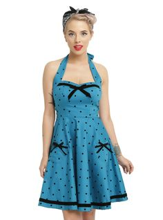 <p>Your beauty will be beyond compare in this retro dress from Hell Bunny. The cerulean blue dress has adjustable halter straps, a flattering princess seam, sweetheart neckline with black velvet contrast bow and trim and an above-the-knee A-line skirt with bowed pockets and black velvet contrast detail. No one will be able to compete with you when you wear it!</p>  <ul> 	<li>98% cotton; 2% elastane</li> 	<li>Wash cold; dry flat</li> 	<li>Model is wearing size small</li> 	<li>I...