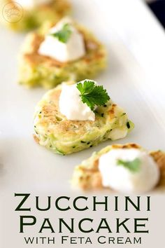 These Zucchini Pancakes with Feta are summery, delicate bites perfect for entertaining as they are served at room temperature. The salty feta cream co. Easy Canapes, Canapes Recipes, Appetizer Recipes, Canapes Ideas, Nibbles Ideas, Vegetarian Canapes, Vegetarian Recipes, Cooking Recipes, Vegetarian Starters