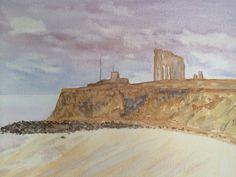 Watercolour King Edwards Bay , Tynemouth Priory
