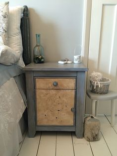 Coastal style bedside table with seahorse design hand carved in leather - post makeover