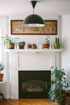White fireplace styling