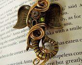 Steampunk Necklace (N153-2) - Ganesha Tribute Pendant - Brass Elephant - Wire Wrapped - Swarovski Crystals