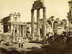 Italy Rome Roma Foro Romano Tempio di Castore e Polluce Old Albumen Photo 1880