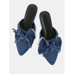 Pointy Toe Distressed Denim Flats BLUE DENIM ($25) ❤ liked on Polyvore featuring shoes, flats, slip-on shoes, denim flats, flat pumps, denim shoes and blue flat shoes