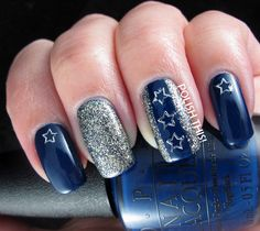 Starry Skittlette - Polish This! Dallas Cowboys Nail Designs, Dallas Cowboys Nails, Football Nails, Cowboys Football, Funky Nails, Cute Nails, Pretty Nails, Clear Nails, Glitter Nails