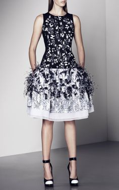 Embroidered Paillette & Plume Dress by Prabal Gurung for Preorder on Moda Operandi