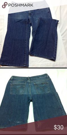 Calvin Klein Jeans Tag states 27/4 length is about 32 inches - bottom potions about 8 inches across Calvin Klein Jeans