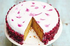Rachel Khoo's Pistachio and Pomegranate cake covered with yoghurt icing. Sounds perfect!