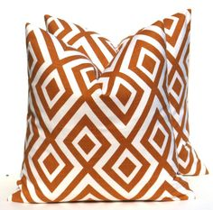 Decorative Throw Pillow Orange Throw Pillow Covers 18x18 TWO Burnt Orange Pillow Diamond Pillow Printed Fabric both sides Cushion Covers