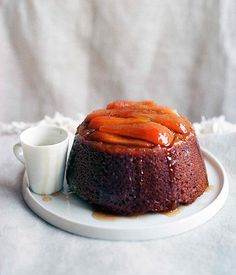 Gourmet Traveller recipe for steamed pear and ginger pudding dessert.