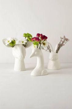 """Cholet Hollow Vase. Stoneware. Hand wash. Goose: 7""""H, 7""""W, 4.5""""D. Doe: 11""""H, 10.75""""W, 8""""D. Hare: 9.5""""H, 5.25""""W, 4.5""""D. $24.00–$38.00"""