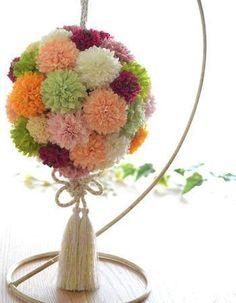 和風ボールブーケ・ピンポンマムの和花ボールブーケ - ウェディングブーケ2014Autumn-Winter造花ブーケ/花冠[福岡・博多ウエスト-アッシュ]