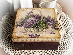 "Jewelry ,  tea , candy box "" Fragrance "" with violets. / Decoupage technique box vintage looking. Shabby chic . Rustic style. Unique.. $70.00, via Etsy."